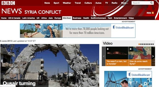 "RESOURCE - BBC NEWS - SYRIA CONFLICT - Good reporting from the BBC. Easy to navigate. ""BBC World Service broadcasts to the world on radio, on TV and online, providing news and information in 27 languages and world service English language. It is currently funded by the licence fee."""