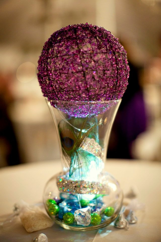 lighted peacock centerpieces