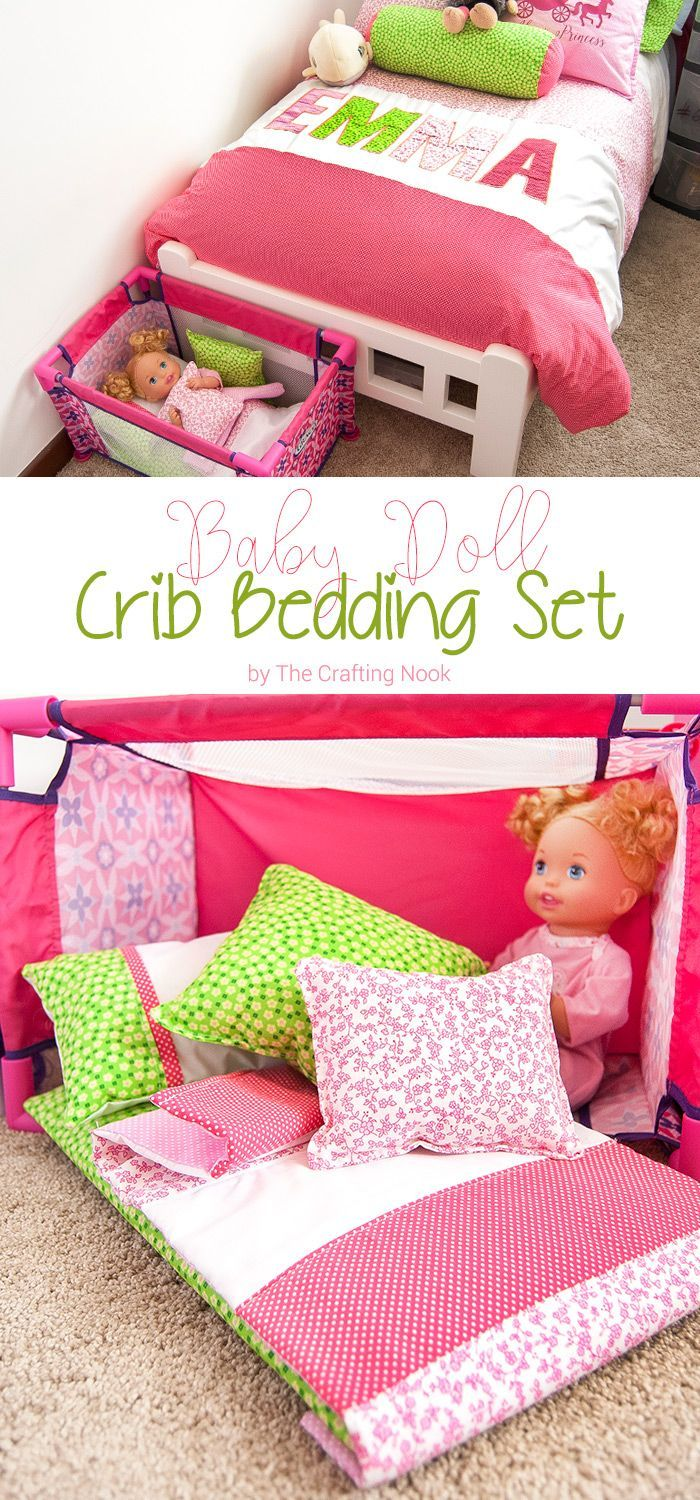 Does your girl love to play with baby dolls? Then you will definitely enjoy this DIY Baby Doll Crib Bedding set. I made it to match my girl's duvet cover set and she loved it! Yours will too I'm sure!