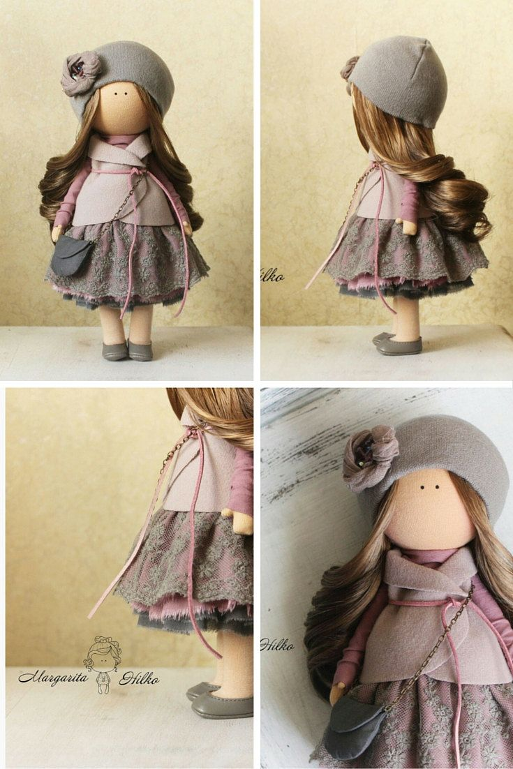 Tilda doll handmade purple grey pink colors by AnnKirillartPlace