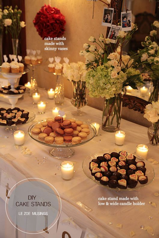 DIY cake stands for wedding dessert table: I LOVE the candles and flowers, plus would also be great for an appetizer table!!