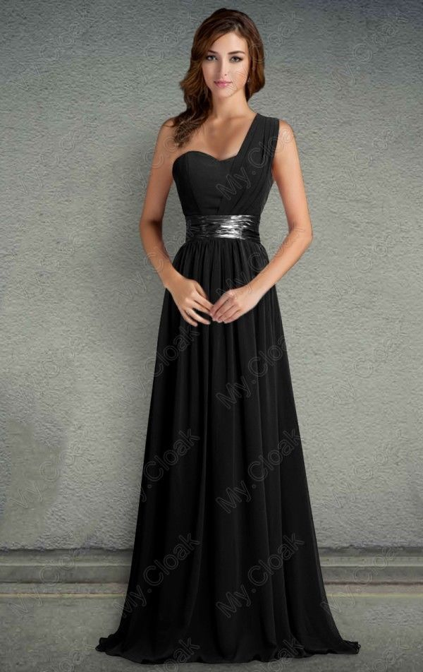 One-Shoulder Bridesmaid Dress Long Prom Wedding Gowns Party Evening Formal 6-26