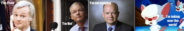 Are You Being Charged? Notice how they all look similar...  Mr Humphries, Julian Assange, William Hague, and The Brain.