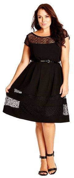 Plus Size Fit & Flare Dress with Delicate Lace Insets