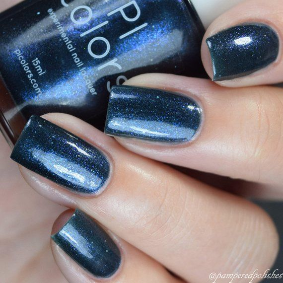 Blue Black Nail Polish With Blue Shimmer Midnight Bloom 022
