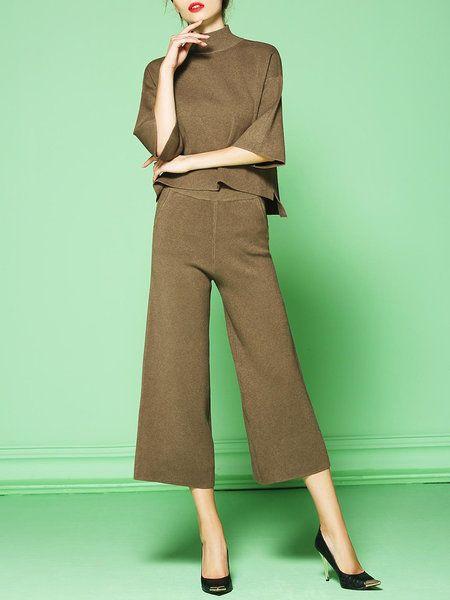 Shop Jumpsuits - Khaki Turtleneck Elegant Knitted Two Piece Jumpsuit online. Discover unique designers fashion at StyleWe.com.