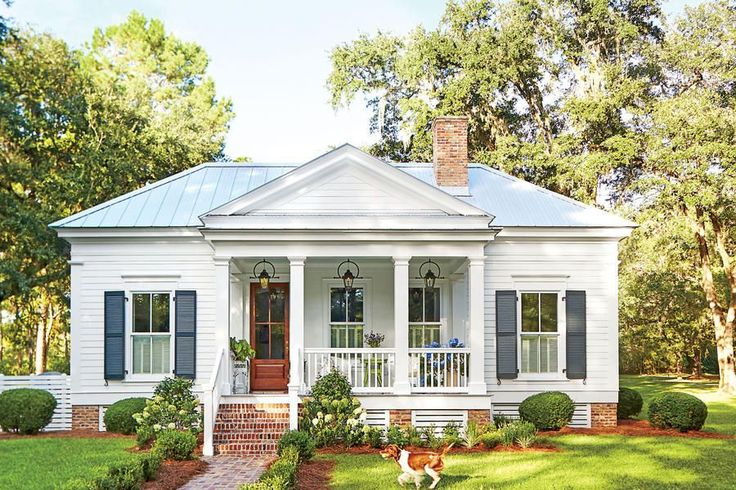 "Exterior Charm - Our New Favorite 800-Square-Foot Cottage That You Can Have Too  - Southernliving. To manage the home's tiny footprint, Ingram was meticulous with scale. ""When designing little homes, you run the risk of them looking like playhouses unless you take the proportions really seriously,"" he says. So he played to a grander scale wherever he could, including the size of the windows and the front-and-center positioning of the porch. From there, it was a matter of adding classic…"