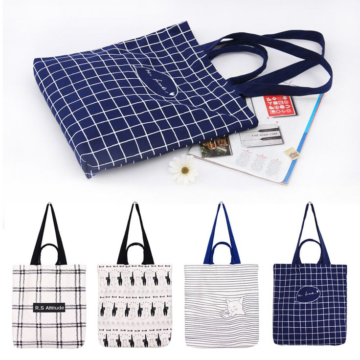 Free Shipping Casual Canvas Shopping Bags Black Blue White Color with Striped Shopping Bag Handbags Shouler Bags E27 #Affiliate