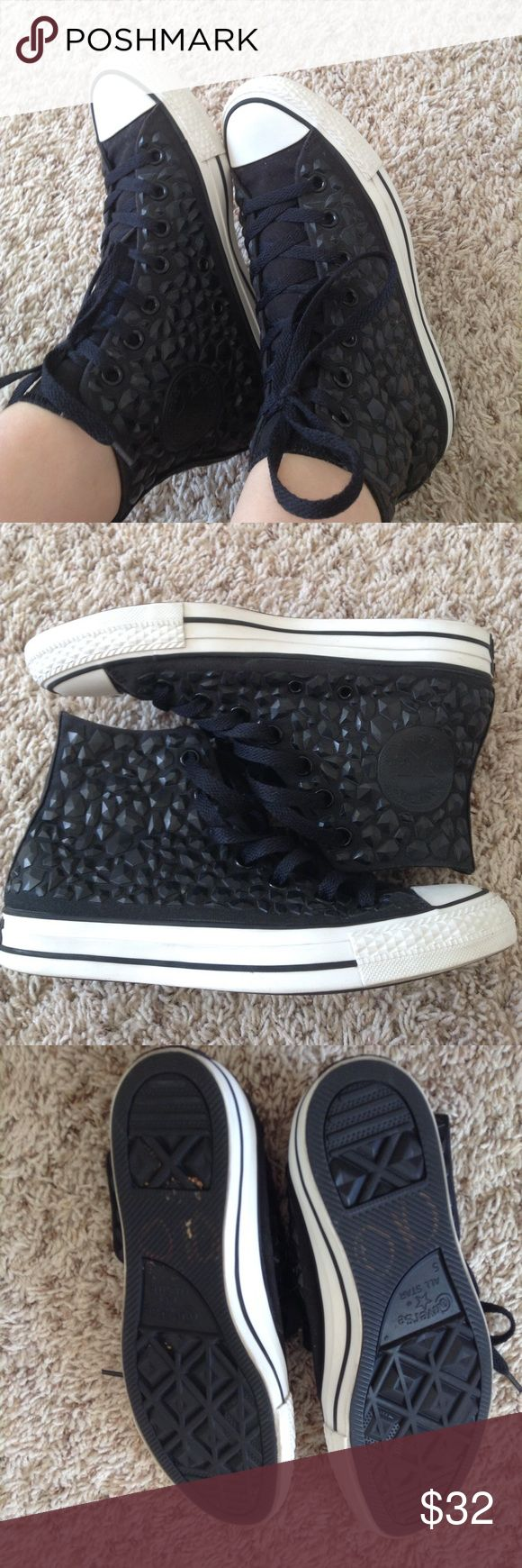 RARE Black Rock Studded Converse High-tops I've never seen any converse like these and the rocks/studs on them look absolutely stunning. Very good condition, almost new, only worn a few times. Rims are all white, no marks or stains on the canvas, and soles have barely any wear on them. Offers are always welcome!😊 Converse Shoes Sneakers