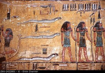 Thebes, West bank, King's Valley, Seti I tomb (KV47). Burial chamber, east wall, Book of Am-Douat.