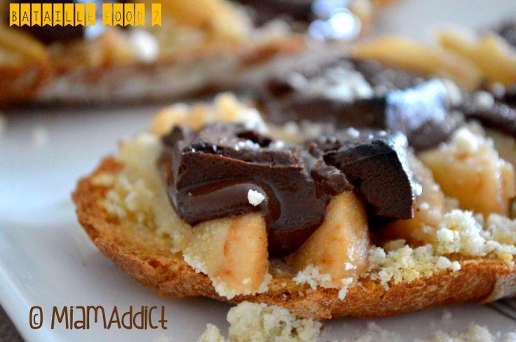 ** Tartines Poires Chocolat Amandes ~ Miam Addict ** http://miamaddict.com/
