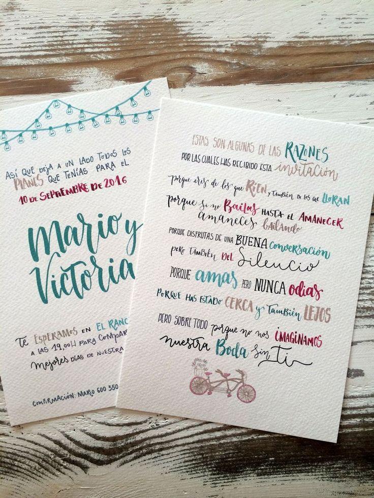 """Invitación de boda  """"buenas razones"""" #boda #diseño #invitaciones"""
