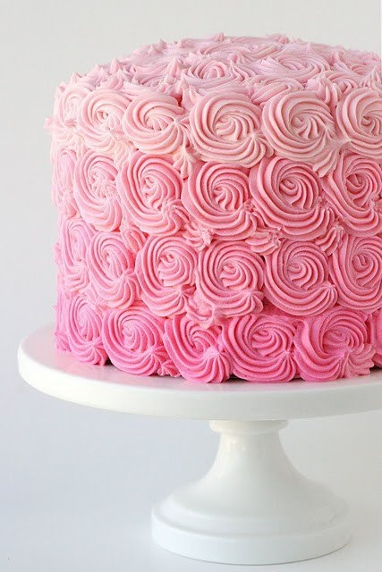 ombre cake.......ok, I seriously want to take a pastry or cake making class. I get so happy when I see this stuff.