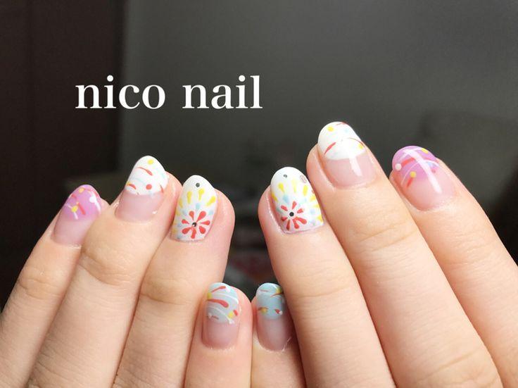 こんにちは、nico nail です。   今日あたり、あちらこちらで見かける   お祭りのヨーヨーと花火ネイル...