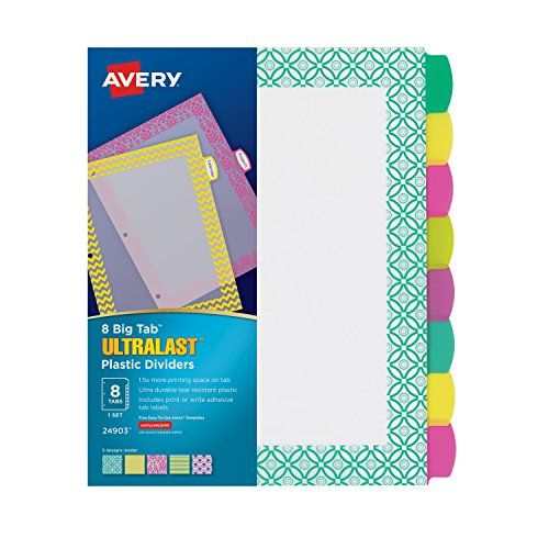 Avery Ultralast Big Tab Plastic Dividers, 8 Tabs, 1 Set, ... https://www.amazon.com/dp/B00XOJ9ZZA/ref=cm_sw_r_pi_dp_x_XWLjyb059NKY2