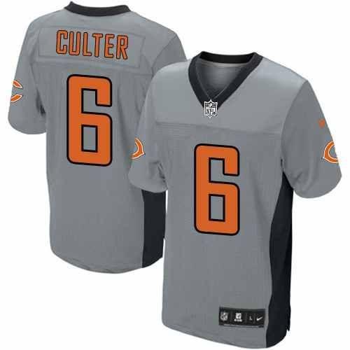 f5bf32304 NFL Mens Elite Nike NFL Chicago Bears 6 Jay Cutler Grey Shadow Jersey  129.99 .