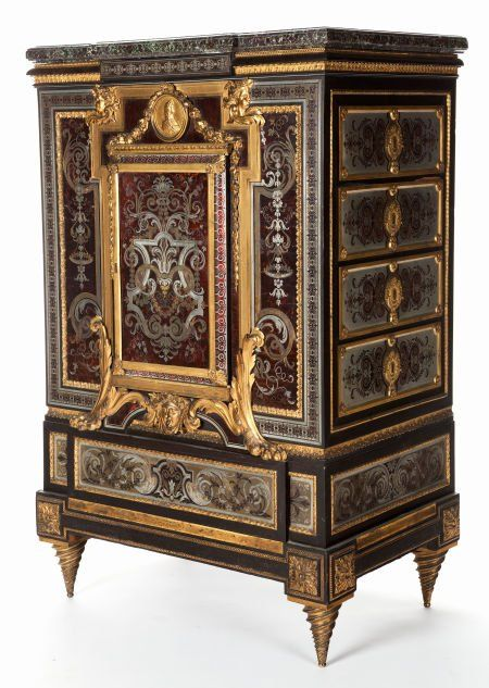 FRENCH LOUIS XIV-STYLE EBONY, ENGRAVED BRASS AND PEWTER, TORTOISESHELL AND GILT BRONZE MEUBLE À HAUTEUR D'APPUI