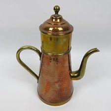 Vintage de cobre y latón macizo Tae Cafetera Hervidor Jarra con filtro