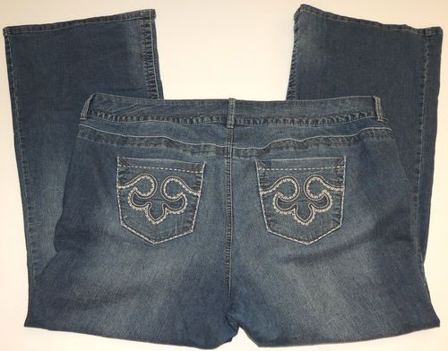 TORRID Denim JEANS plus size 26 Pants Embroidered Pockets Wide Flared Legs