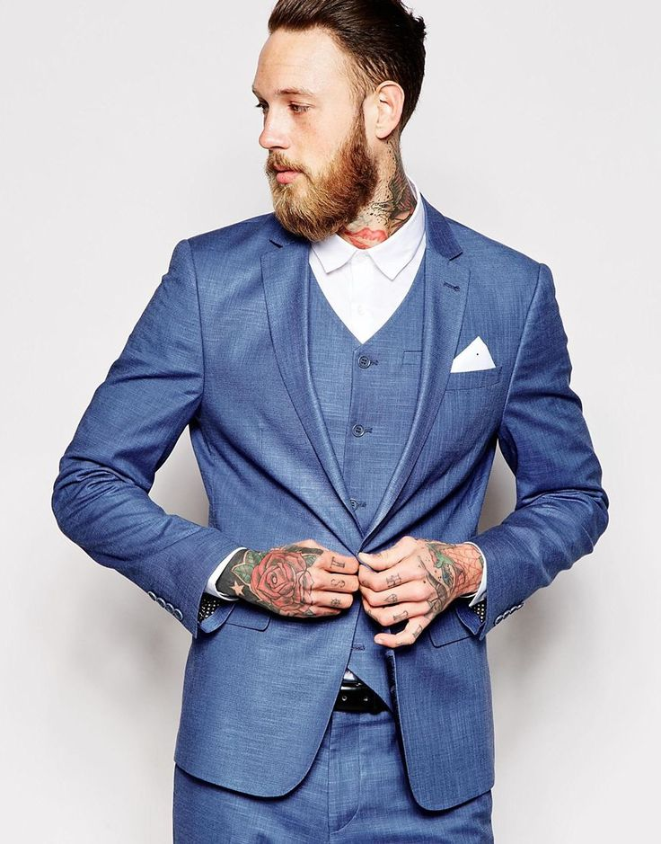 Image 1 ofASOS Skinny Fit Suit Jacket In Blue