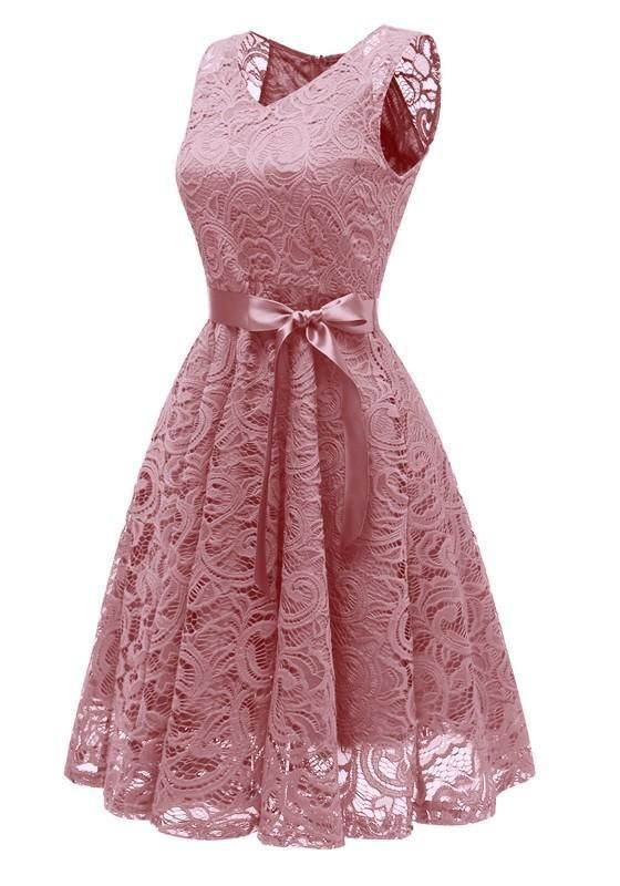 5f411b88ce44 DaysCloth Pink Draped Lace Sashes A-Line V-neck Elegant Midi Dress ...