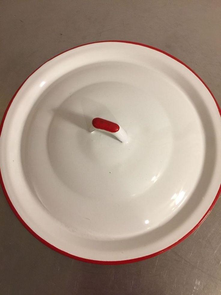 Vintage Enamel Metal Pot Lid White Red Saucepan Top Replacement Piece Made USA