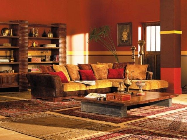 Furnitures in indian themed living room decor cozy and for Warm living room ideas