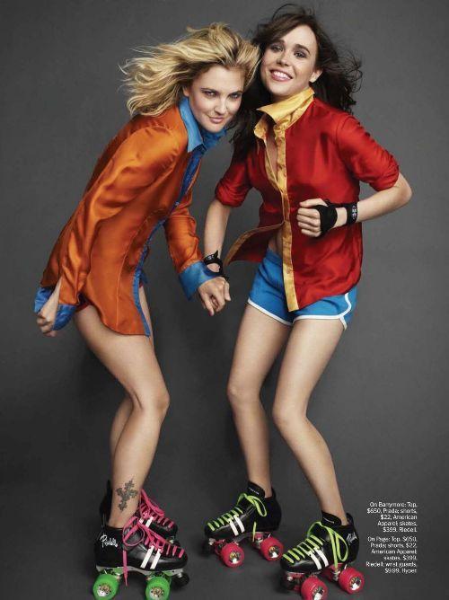 Drew Barrymore & Ellen Page in Marie Claire Magazine | Skinny VS Curvy