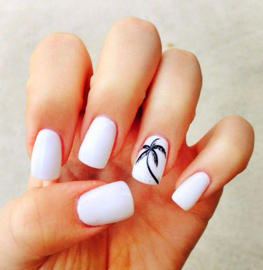 White Nails with A Palm Tree