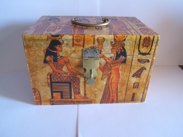 Caja de madera decorada con motivos egipcios decoupage - Cajas de madera decoradas ...