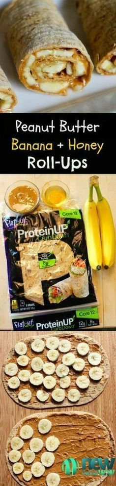 Peanut Butter Banana + Honey Roll-Ups: high protein using new Flatout higher protein flatbreads. Great for kids and adults! #peanutbutter #banana #protein #workout #food