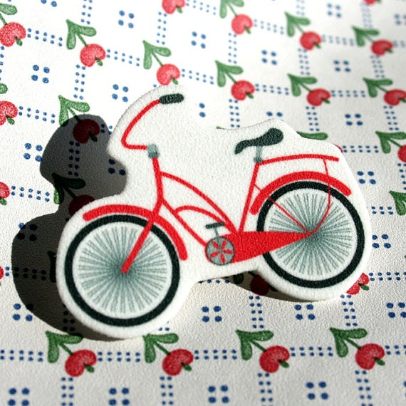 Red Shrinky-Dink Beach Cruiser Pin on Esty for $7