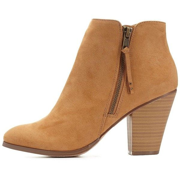 Charlotte Russe Camel Side-Zip Chunky Heel Booties by Charlotte Russe... ($36) ❤ liked on Polyvore featuring shoes, boots, ankle booties, ankle boots, camel, chunky heel bootie, studded boots, faux suede booties, short boots and studded ankle boots