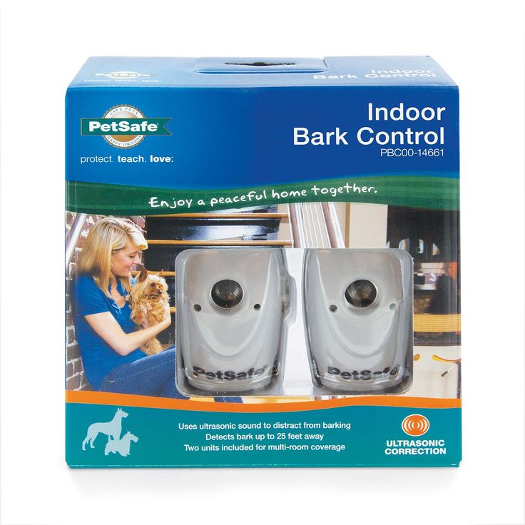 """PetSafe Indoor Bark Control 2 pack Taupe 1.25"""" x 1.75"""" x 2.75"""" - PBC00-14661. Using the adhesive-backed hooks, simply place one of the devices on a wall, door frame, or table in whichever room your dog barks the most. Whenever your dog barks, the device emits an unpleasant ultrasonic tone that's inaudible to most humans. Your dog will learn to associate his barking with the high-pitched sound and stop barking. Most dogs bark less within a few days. The deterrents are available in single or…"""