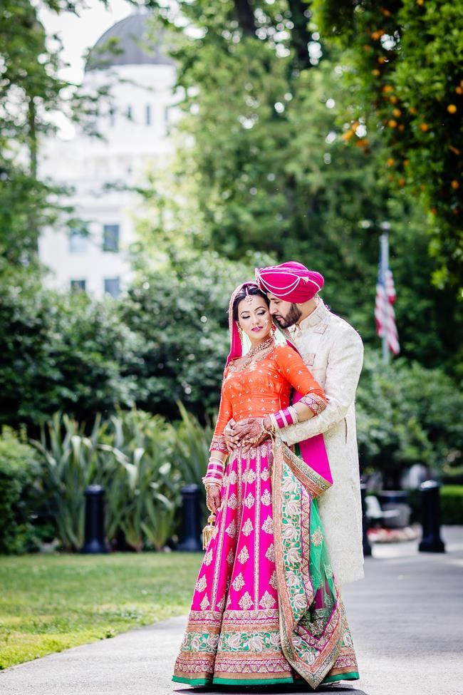 Sikh Punjabi Indian bride and groom wedding portrait