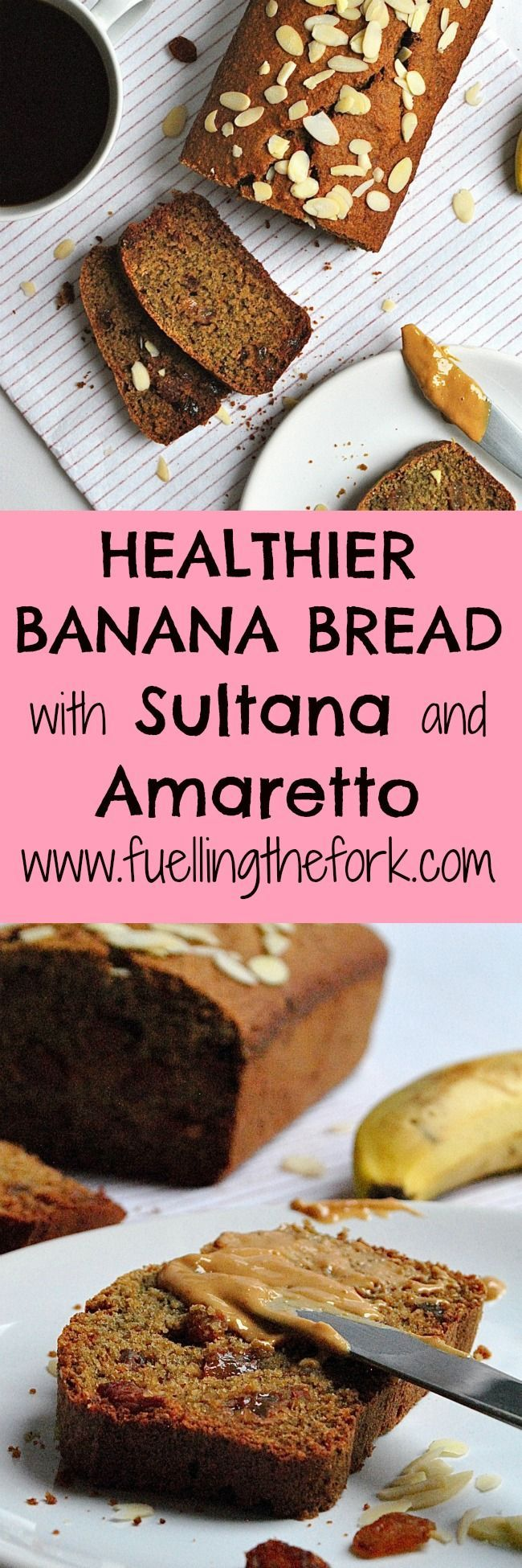 Healthy Banana Bread with Sultanas and Amaretto. This banana bread is gluten, dairy and refined sugar free- perfect for a mid afternoon treat, you would never guess this was a healthier bake! #bananabread #healthy #healthyrecipe #healthybananabread #bread #recipe   fuelllingthefork.com