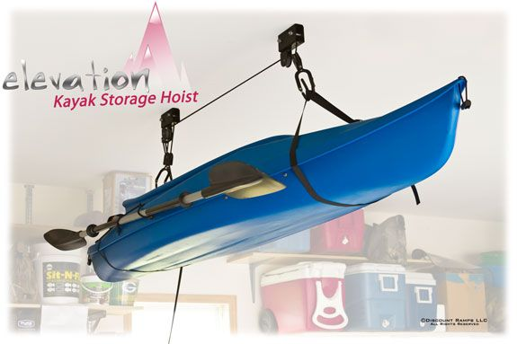 Elevation Kayak Storage Hoist from DiscountRamps.com stores your canoe or kayak inside, overhead and out of the way. Double pulley system includes all the hardware to mount to your garage or shed ceiling and has a safety rope catch mechanism.
