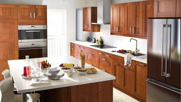 Inspirational IKEA Kitchen Trends 2015 embellished with Space Saving Furniture: Traditional Open Plan Kitchen Interior Design With Sustainable Teak Kitchen Cabinet And Huge Steel Chimney Extractor Fan And White Countertop ~ slipnet.org Kitchen Inspiration