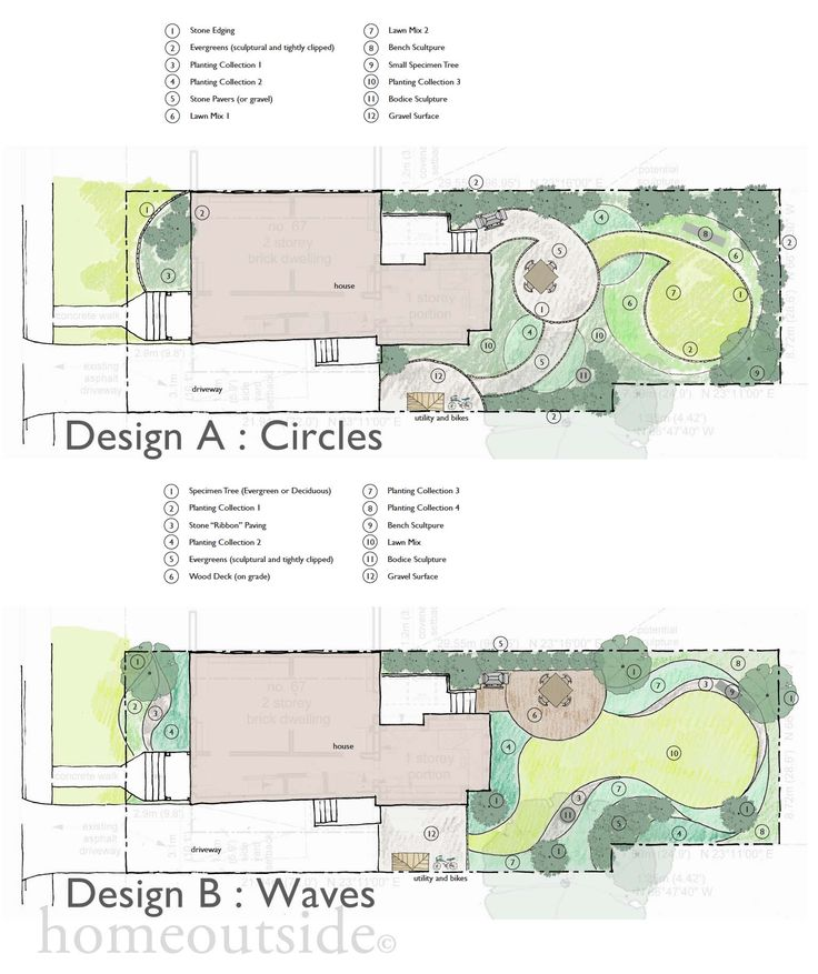 Two designs by Home Outside Design online landscape design service. Both inspired by the images and ideas provided by the homeowners.