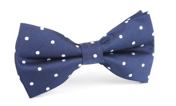 Men's Bow Tie Pre-Tied Navy Blue Polka Dots Dot X325-BT door OTAA