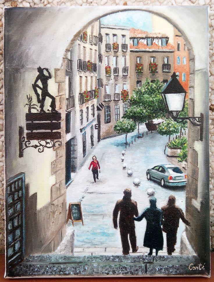 Bajada por el arco de Cuchilleros, Madrid. Óleo sobre lienzo. 18x24 cm.