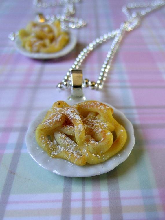 Miniature Food Jewelry Funnel Cake Necklace Tiny by kawaiibuddies
