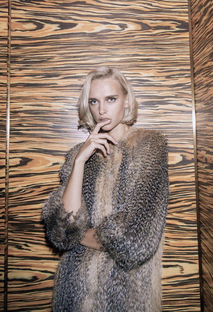 Yves Salomon Knitted Fox Coat in Nat