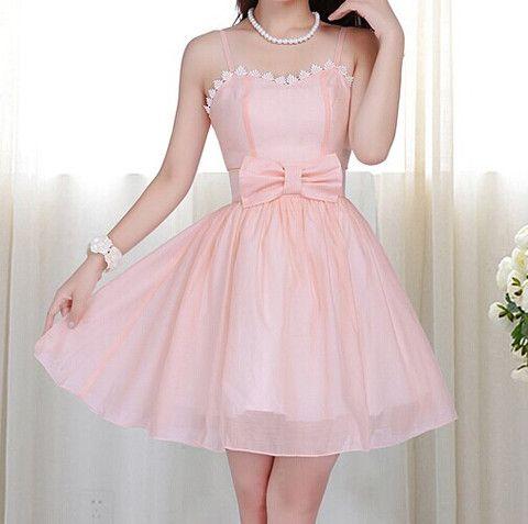 $42.00   Lace Bow Chiffon Dress MY0046FY
