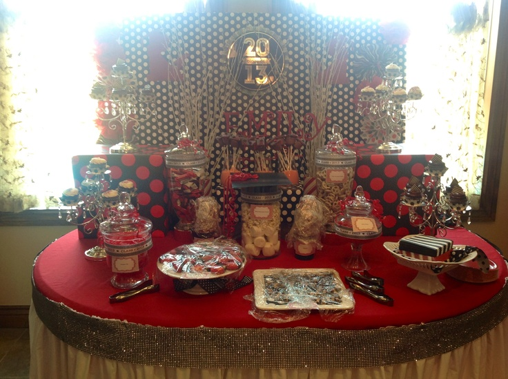 black white red graduation candy and dessert buffet table