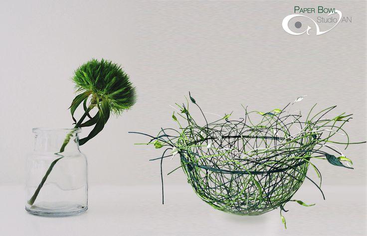 Green & white paper bowl www.studioan.com