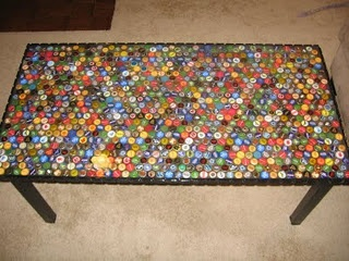 Beer bottle top table... lets make a coffee table