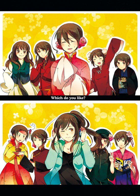 Asian Five  Nyotalia  Hetalia, Anime, Hetalia Funny-4149