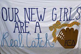 Baseball themed Bid Day banner