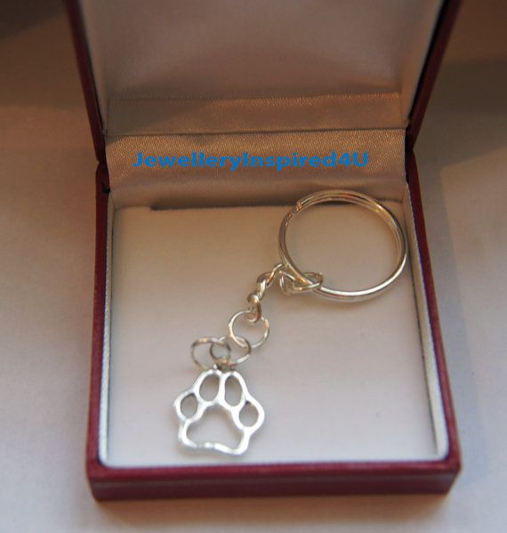 Cat or Dog Paw Cut-Out Key Ring with by JewelleryInspired4U
